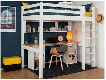 Lit mezzanine 2 places Adam  Blanc 120x190 cm