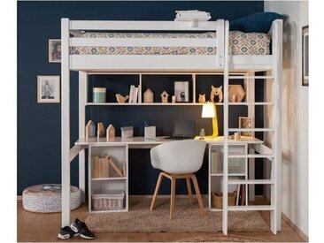 Lit mezzanine Adam  Blanc 90x190 cm