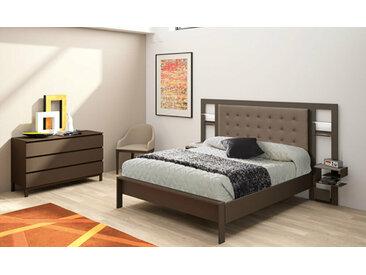 Lit métal Brio luxe XL  Chocolat et taupe 140x200 cm