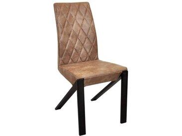 Chaise en cuir GUSTAVO (lot de 2) Matière - Cuir Beige, Quantité - Lot de 4