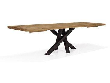 Table design SENSO avec allonges Couleur Pieds - Acier naturel, Dimensions - 180 x 90, Teinte bois - Naturel mat