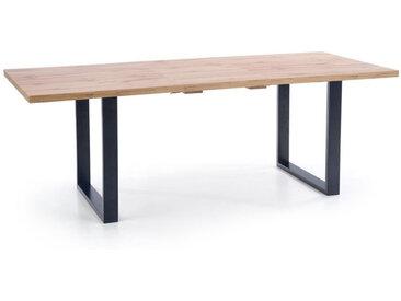 Table de salle à manger extensible 135-185 cm avec plateau aspect chêne Wotan et pieds métal noir Venice