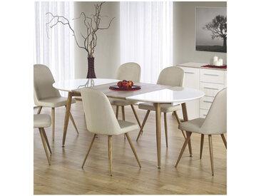 Table à manger ovale extensible bois et blanc laqué Miya