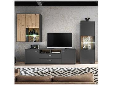 Ensemble télé gris mat et style chêne avec leds ALLURE