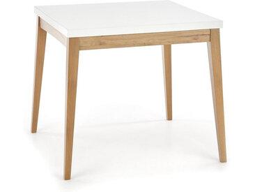 Table carrée scandinave 80x80cm blanche et bois Norway