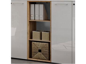 Bibliothèque deux étagères blanche et aspect chêne Next