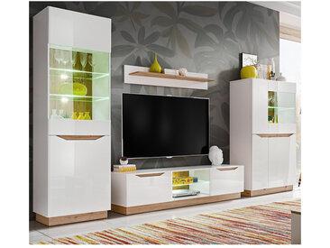 Ensemble TV blanc et style chêne avec éclairage leds IVALO