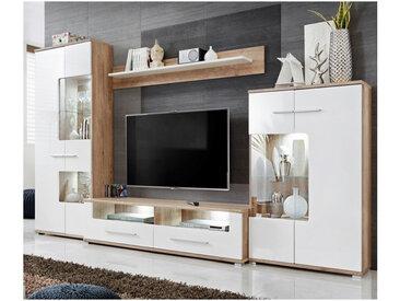 Ensemble TV blanc brillant et aspect chêne avec led Eléganza 3