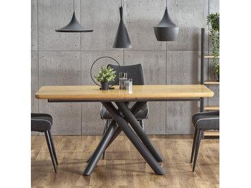 Table de salle à manger avec pied central design en acier noir et plateau aspect chêne Montevideo