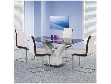 Table à manger design noir & blanc laqué Dario