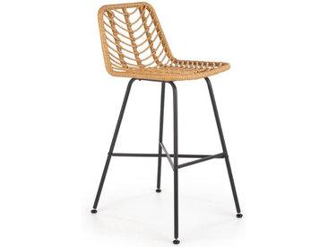 Chaise de bar en rotin synthétique avec structure en acier noir RATTAN