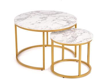 Tables gigognes rondes avec plateau style marbre et structure en métal doré Troie