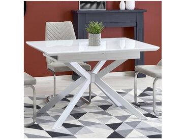 Table rectangulaire extensible blanche verre et acier Happy