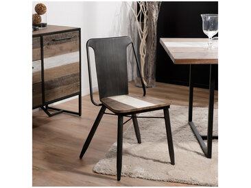 Lot de 2 chaises design industriel bois et métal Léon