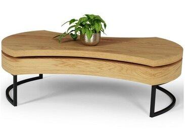Table basse design style chêne et acier noir Lutece
