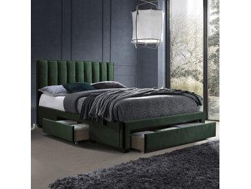 Lit en velours vert foncé 160 x 200 cm avec tiroirs de rangement Velvet