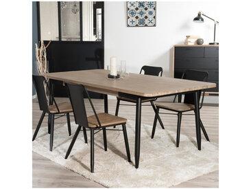 Table à manger industriel noir et bois Olana