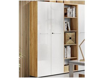 Armoire de bureau deux portes 196 cm blanche et aspect chêne Next