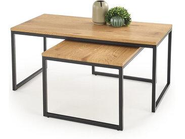Tables de salon gigogne style chêne et métal Hudson