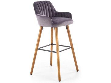 Chaise de bar en velours gris avec pieds en bois massif CLEAN