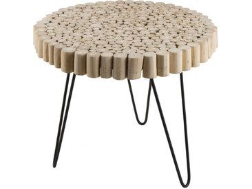Table d'appoint ronde design bois et métal 55cm Woody