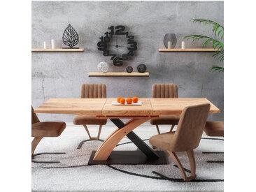 Table de salle à manger design avec rallonge intégrée aspect chêne doré et acier noir Millenium
