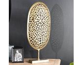 Sculpture en aluminium doré avec socle en bois ELEGANCE