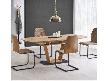 Table design originale bois et métal 160/220x90cm Banff