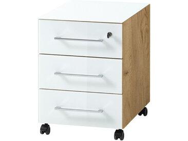 Caisson 3 tiroirs sur roulettes blanc et bois façade en verre Next