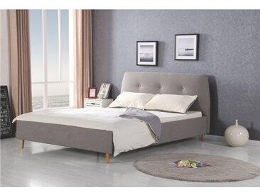 Lit design tissu gris et bois massif Blaise
