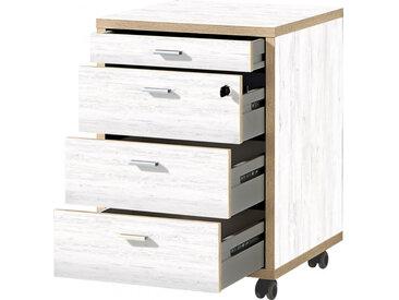 Caisson avec tiroirs sur roulettes blanc et finitions chêne Aurora
