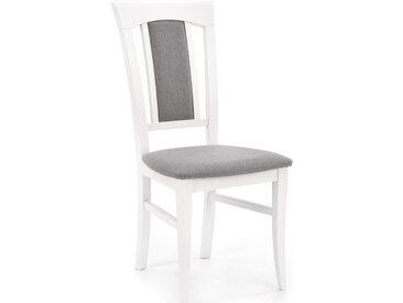 Chaise de salle à manger blanche en bois massif avec finitions en tissu gris HOPE