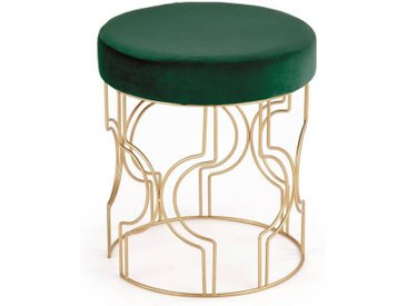 Pouf haut en velours vert foncé avec structure design en métal doré MANSION