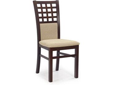 Chaise en bois massif couleur noyer et tissu beige Walsor
