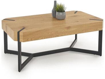 Table basse design plateau style chêne et pieds en acier noir Brest