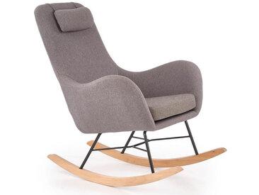 Rocking chair style scandinave avec tissu gris et pieds en métal et bois massif UTOPIA