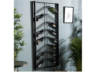 Etagère range-bouteilles de vin avec 8 niveaux inclinés en métal noir Eole