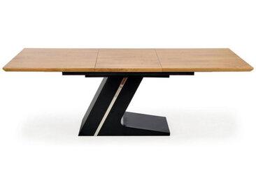 Table de salle à manger extensible avec pied central en acier noir et plateau aspect chêne naturel Seattle