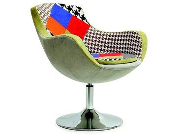 Fauteuil design tissu patchwork Origan