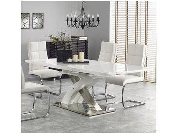 Table à manger design blanc laqué et verre avec rallonge Cleo