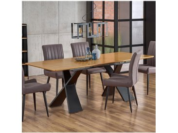 Table de salle à manger extensible avec pieds design en acier noir et plateau aspect chêne Detroit