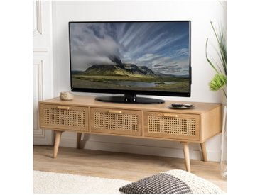 Meuble TV aspect frêne naturel avec trois tiroirs et cannage en rotin SNOW