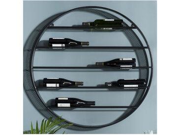 Range-bouteilles rond 5 niveaux en métal noir Eole