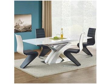 Table a manger blanche laquée avec rallonge 160-220cm Elvira