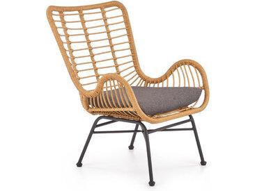 Fauteuil lounge en rotin synthétique avec coussin gris et structure en acier noir Carnac
