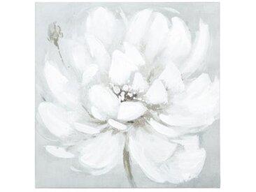 "Toile Peinte ""Fleur"" 28x28cm Blanc - Paris Prix"