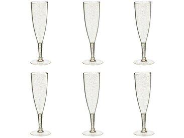 """Lot de 6 Flûtes à Champagne """"Paillette"""" 21cm Or - Paris Prix"""