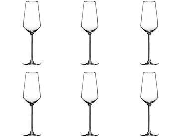 """Lot de 6 Flûtes à Champagne """"Milla"""" 21cl Argent - Paris Prix"""