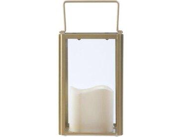 """Lanterne en Verre """"Bougie LED"""" 17cm Or - Paris Prix"""