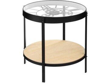 """Table à Café en Verre """"Pendule"""" 50cm Noir - Paris Prix"""
